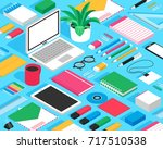classic office stationary... | Shutterstock .eps vector #717510538