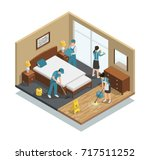 house cleaning isometric... | Shutterstock .eps vector #717511252
