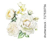 Stock photo watercolor flowers floral illustration leaf and buds botanic composition for wedding or 717520756