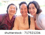 selfie senior woman with... | Shutterstock . vector #717521236