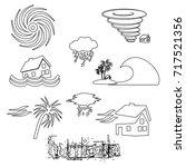 hurricane natural disaster...   Shutterstock .eps vector #717521356