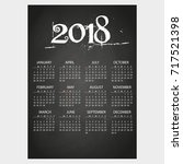 2018 wall calendar on... | Shutterstock .eps vector #717521398