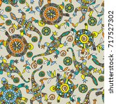 seamless pattern with bright... | Shutterstock .eps vector #717527302