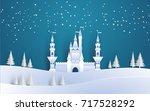 great castle on a snowy winter... | Shutterstock .eps vector #717528292