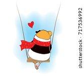 guinea pig sad on the swings. | Shutterstock .eps vector #717536992