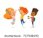 happy children jump with raised ... | Shutterstock . vector #717538192
