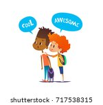 two multiracial boys with... | Shutterstock . vector #717538315