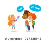 smiling amputee girl shows... | Shutterstock . vector #717538948