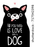 kawaii black dog with lettering.... | Shutterstock .eps vector #717542398