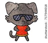 cool cartoon dog | Shutterstock .eps vector #717544018