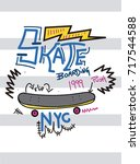 new york skateboarding t shirt... | Shutterstock .eps vector #717544588