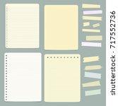 set of blank ruled notepaper... | Shutterstock .eps vector #717552736