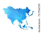 map of asia   blue geometric... | Shutterstock .eps vector #717556195