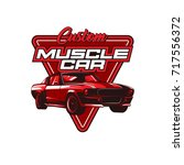 muscle car vector illustration | Shutterstock .eps vector #717556372