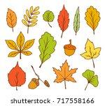 doodle leaves vector | Shutterstock .eps vector #717558166