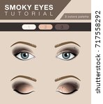 smoky eyes makeup tutorial ... | Shutterstock .eps vector #717558292