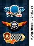 Isolated racing symbols and icons for design or logo template. Vector version also available in gallery - stock photo
