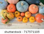 various pumpkins and squashes... | Shutterstock . vector #717571105