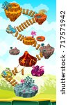 isometric colorful game islands ... | Shutterstock .eps vector #717571942