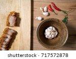 roast pork chilli garlic | Shutterstock . vector #717572878