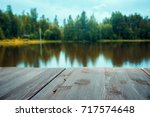 Wooden Board Lake With Autumn ...