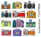 hand drawn vector set of camera | Shutterstock .eps vector #717579808