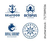 seafood related labels badges... | Shutterstock .eps vector #717589036