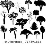set of different silhouettes of ... | Shutterstock .eps vector #717591886