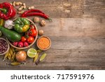 variety of vegetables  space... | Shutterstock . vector #717591976