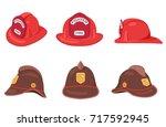 fireman helmets set side front... | Shutterstock .eps vector #717592945