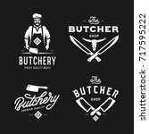 butcher shop labels badges... | Shutterstock .eps vector #717595222