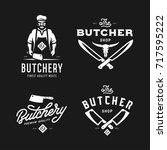 butcher shop labels badges... | Shutterstock .eps vector #717595222