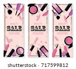 beauty sale banner with make up ... | Shutterstock .eps vector #717599812