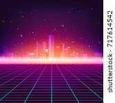 retro futuristic abstract... | Shutterstock .eps vector #717614542