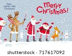 vector christmas greeting card  ... | Shutterstock .eps vector #717617092