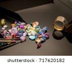 jewel or gems on black shine... | Shutterstock . vector #717620182