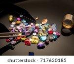 jewel or gems on black shine... | Shutterstock . vector #717620185
