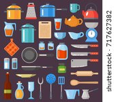 kitchen utensils set.... | Shutterstock .eps vector #717627382