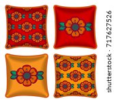 set of four matching decorative ...   Shutterstock .eps vector #717627526