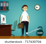 man chained to kettlebell with... | Shutterstock .eps vector #717630706