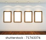 3d render of empty room with four empty frames and four spot lights - stock photo
