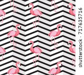 cute retro seamless flamingo... | Shutterstock .eps vector #717635716