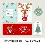 merry christmas greeting card... | Shutterstock .eps vector #717639625