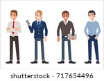 multinational men wearing... | Shutterstock .eps vector #717654496