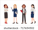 multinational women wearing... | Shutterstock .eps vector #717654502