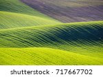 rolling hills of green wheat... | Shutterstock . vector #717667702