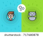 chatbot concept. man chatting... | Shutterstock .eps vector #717680878