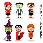 set of children wearing... | Shutterstock .eps vector #717700756