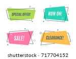 flat linear promotion ribbon... | Shutterstock .eps vector #717704152