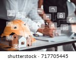 architect man working with... | Shutterstock . vector #717705445
